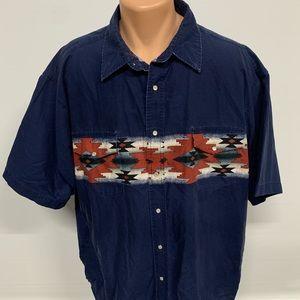 Vintage Rustler by Wrangler Aztec Pearl Snap Shirt